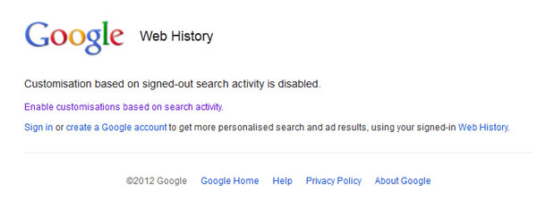 Disable or enable customisations based on search history