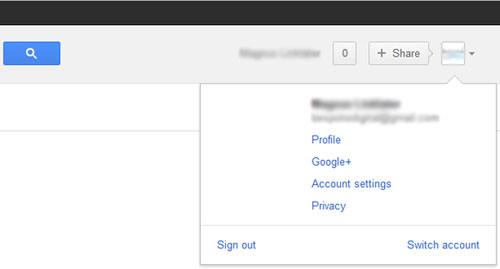 Google signed in account view