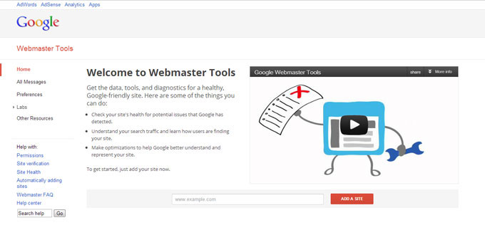 Welcome to Google Webmaster Tools