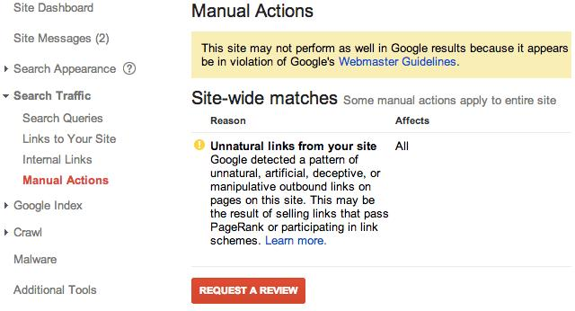 A Google Webmaster Tools manual action notice