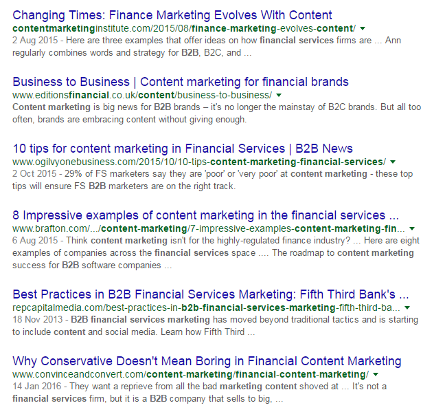 Search results for 'content marketing in B2B financial services'