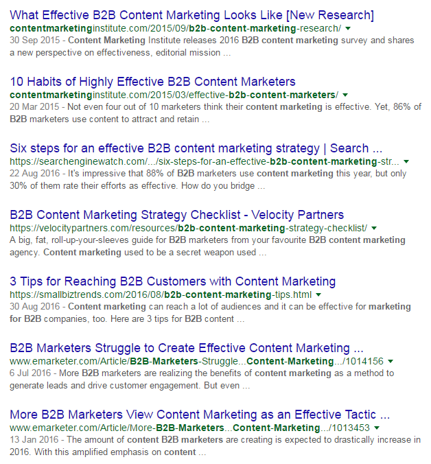 SERPs for 'content marketing for B2B'
