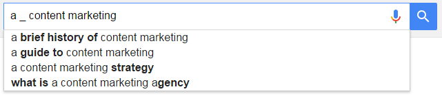 Google's autosuggest for a wildcard search query