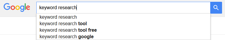 Google's search suggestions relating to 'keyword research'
