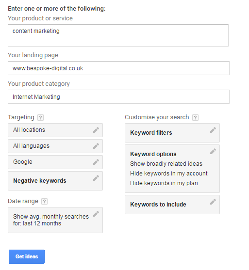 Where to start with Keyword Planner