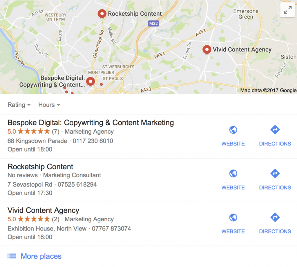 Local pack results for 'content marketing agency Bristol'