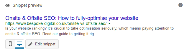 snippet preview for onsite SEO