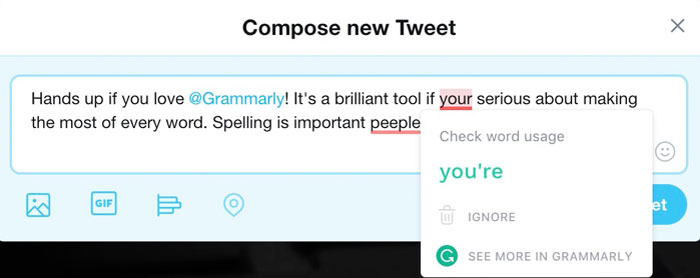 Spell checking a Tweet with Grammarly