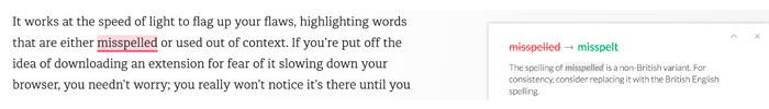 Grammarly's spell checker