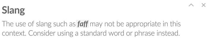 Slang in Grammarly