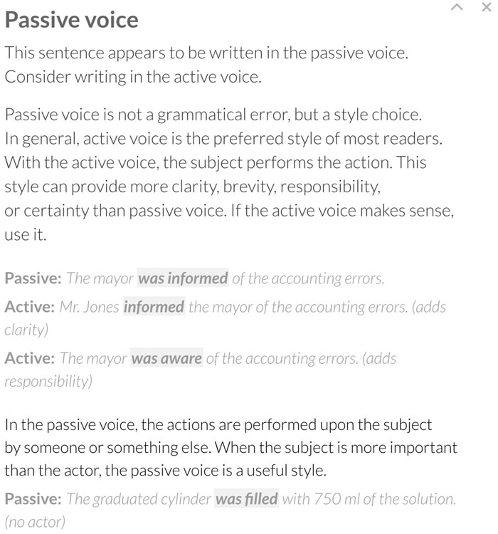 Highlighting the passive vs. active voice